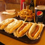 Four Hot Dogs, Fries and Two Pepsis.